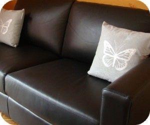 coussin argenté papillon