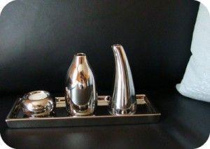 trio de vase contemporains argentés