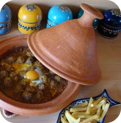 Tajine de kefta aux oeufs plat marocain jasmine and co - Tajine en terre cuite ...