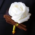 Boutonnière marié orientale canelle