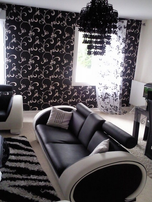 un salon tout noir et blanc jasmine and co. Black Bedroom Furniture Sets. Home Design Ideas