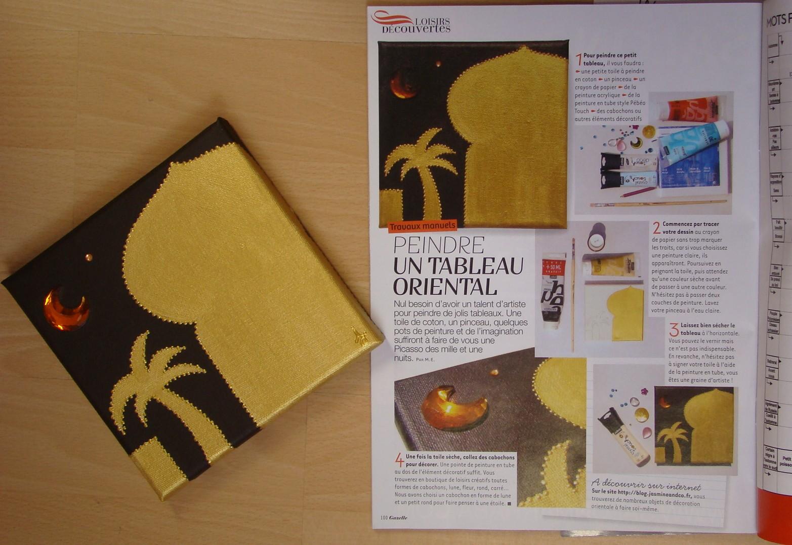 peindre un tableau oriental gazelle magazine jasmine. Black Bedroom Furniture Sets. Home Design Ideas