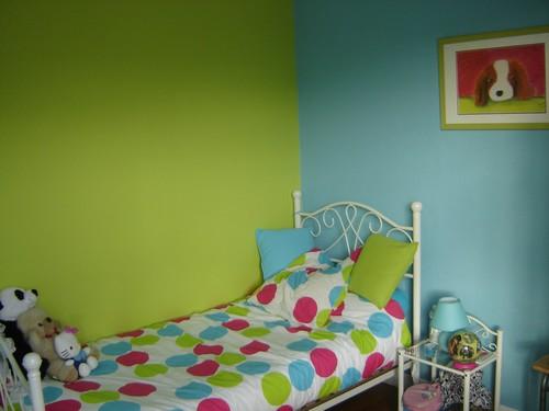 bleu turquoise et vert anis design salle de bain vert