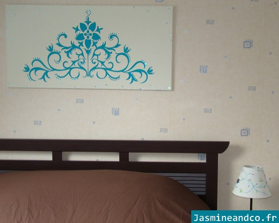 faire un tableau avec un sticker jasmine and co diy et tuto de d coration orientale marocaine. Black Bedroom Furniture Sets. Home Design Ideas