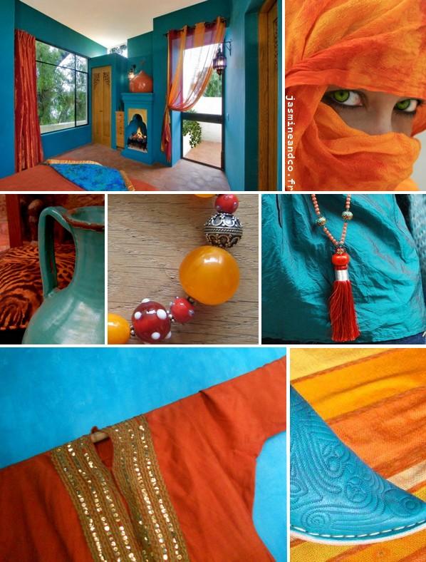 Inspiration orientale   une déco marocaine turquoise   orange ... 5ed364e2527