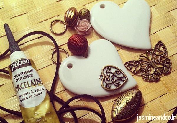 pendentif coeur en porcelaine