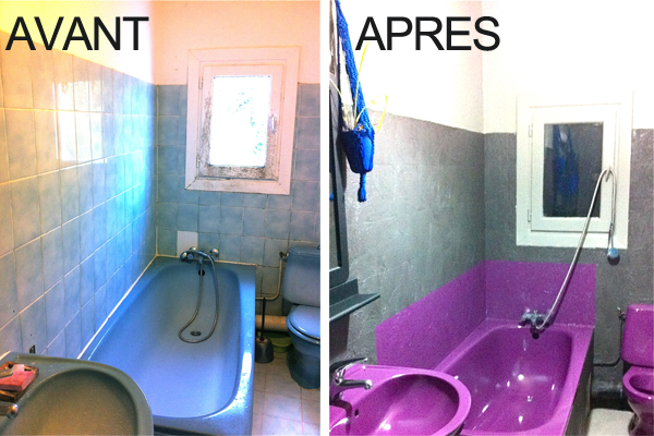 peinture carrelage salle de bain avant apres. Black Bedroom Furniture Sets. Home Design Ideas