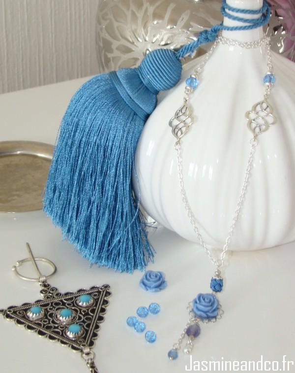 sautoir oriental bleu