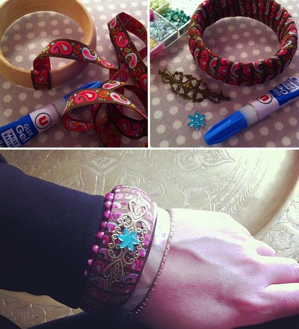 diy bracelet paisley ruban