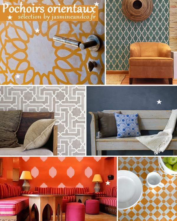 pochoir oriental ma s lection jasmine and co diy et. Black Bedroom Furniture Sets. Home Design Ideas