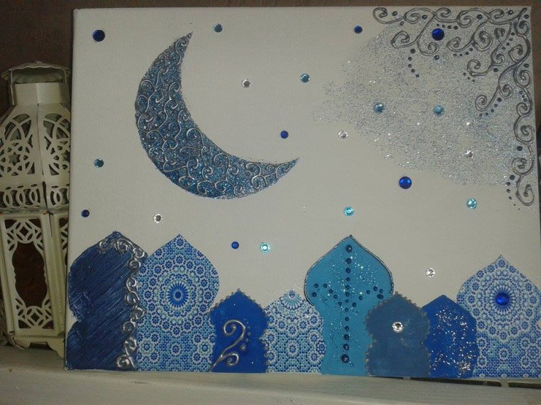 tableau oriental bleu