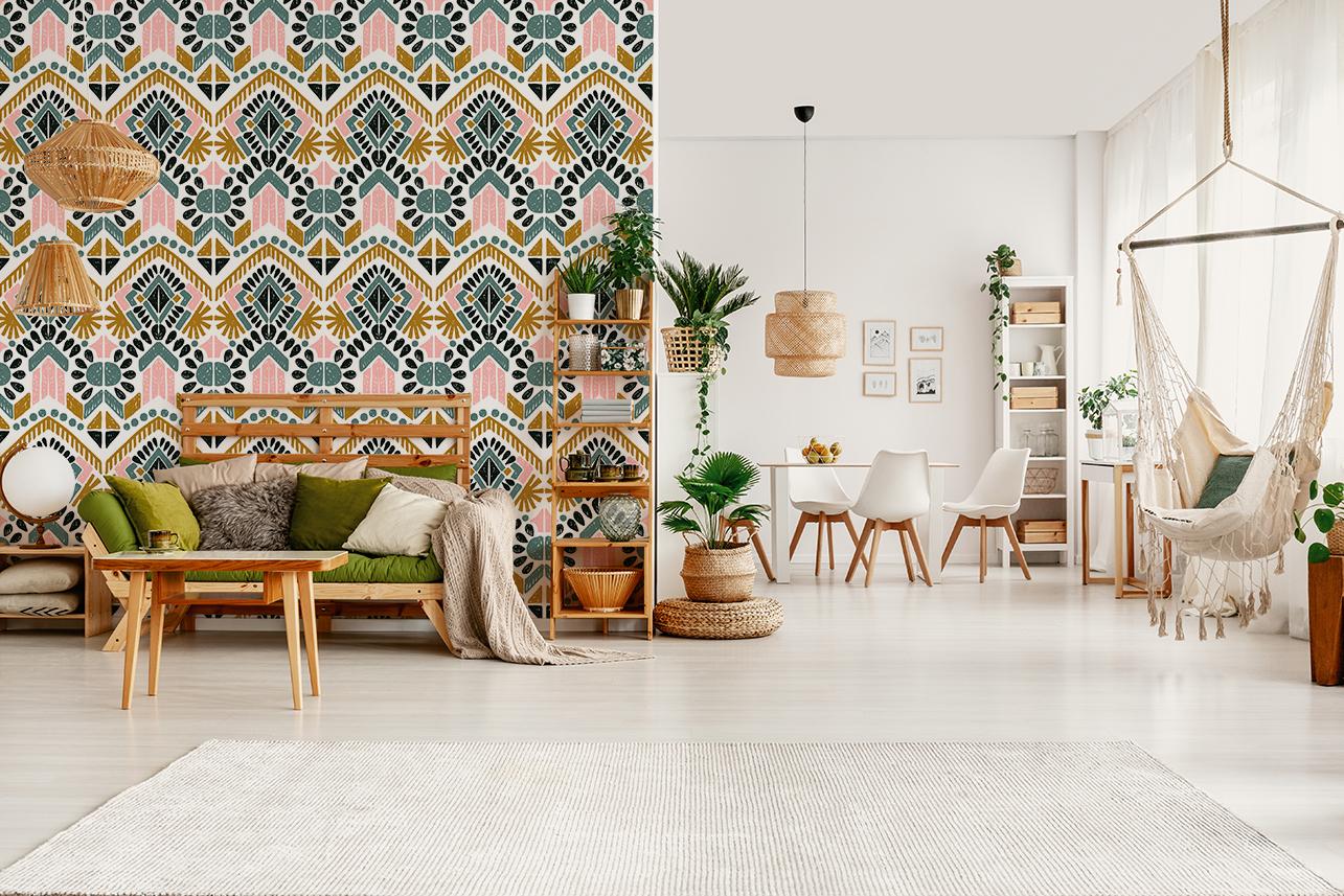 salon boho papier peint ethnique chic jasmine and co. Black Bedroom Furniture Sets. Home Design Ideas