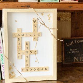 Les cadres personnalisés avec les prénoms / mots en lettres bois style scrabble vous plaisent beaucoup 😙 merci pour votre confiance